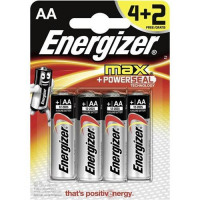 Energizer Max AA/E91 Batteries Ref E300112500 [Pack 4 and 2 FREE] Apr-Mar 2017/18