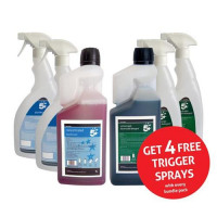 5 Star Facilities Disinfectant & Bactericidal Detergent Concentrated 1 Litre [FREE 750ml Trigger Bottles]