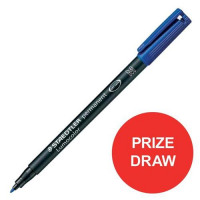 Staedtler 318 Lumocolor Pen Permanent Fine Blue Ref 318-3 [Pack 10] [Competition Offer] Jan-Dec 2017