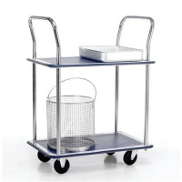 5 Star Facilities Trolley Steel Frame Non Marking Wheels Capacity 120kg 2 Shelf Chrome *2017 Mailer*