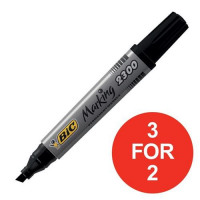 Bic Permanent Marker Chisel Tip 3-5.5mm Line Black Ref 300096 [Pack 12] [3 For 2] Jul-Sep 2017