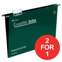 Rexel Crystalfile Extra Suspension File 15mm Foolscap Green Ref 70628 [Pack 25] [2 For 1] Jul-Sep 2017