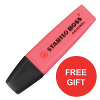 Stabilo Boss Highlighters Chisel Tip Line Pink Ref 70/56/10 [Pack 10] [FREE Highlighters] Jul-Sep 2017