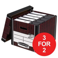 Bankers Box by Fellowes Premium 725 Box Woodgrain Ref 7250502 [Pack 10] [3 For 2 & Voucher] Oct-Dec 2017