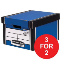 Bankers Box by Fellowes Premium 725 Blue/White Ref 7250603 [Pack 10] [3 For 2 & Voucher] Oct-Dec 2017