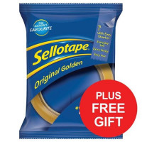 Sellotape Original Golden Tape Roll Large 24mmx66m Ref 1443268 [Pack 12] [FREE Dispenser] Apr-Jun 2018