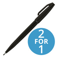 Pentel Sign Pen S520 Fibre Tipped 2.0mm Tip 1.0mm Line Black Ref S520-A [Pack 12] [2 For 1] Jun 2018