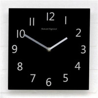 Wall Clock Square Black Face Ref 2100H-BK