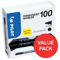 Pilot 100 Permanent Marker Bullet Tip Line 1mm Black Ref 3131910501268 [Pack 15&5 Free]