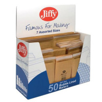 Jiffy Airkraft Bag Selection Box 5xNo00 10xNo0 10xNo1 5xNo2 10xNo4 5xNo5 5xNo7 Gold Ref 50-6 [Pack 50]