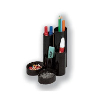 5 Star Office Desk Tidy with 6 Compartment Tubes Black