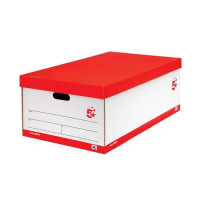 5 Star Office Jumbo Storage Box W412xD715xH276mm Red & White [Pack 5]