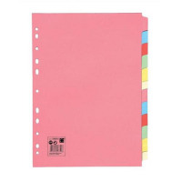 5 Star Office Subject Dividers Multipunched Manilla Card 12-Part A4 Assorted