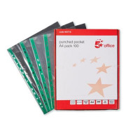 5 Star Office Punched Pocket Polypropylene Green Strip Top-opening 50 Micron A4 Clear [Pack 100]