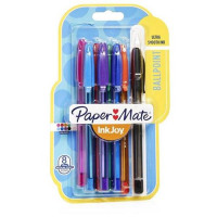 Paper Mate InkJoy 100 Ballpoint Pen 1.0 Tip 0.7mm Line Assorted Ref 1956737 [Pack 8]