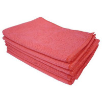 5 Star Facilities Microfibre Cleaning Cloths Colour-coded for Dry or Damp Multi Surface Use Red [Pack 6]