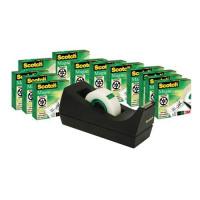 Scotch Magic Tape Value Pack 19mmx33m Ref SM12 [12 Rolls & FREE Dispenser]