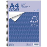Silvine Notebook Twin Wirebound FSC Paper Perforated 160pp A4 Ref FSCTW80 [Pack 5] [Promo]