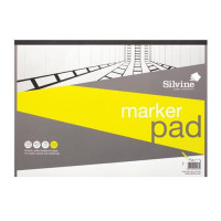 Silvine Marker Pad Bleedproof 70gsm 50 Sheets A3 White