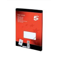 5 Star Office Multipurpose Labels Laser 24 per Sheet 64x34mm White [2400 Labels]