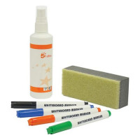 5 Star Office Drywipe Starter Kit of Drywipe Eraser and 125ml Cleaner and 4 Whiteboard Markers Assorted