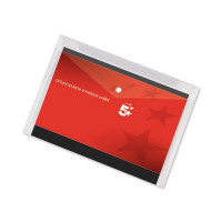 5 Star Office Envelope Stud Wallet Polypropylene A3 Transparent [Pack 5]