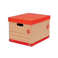 5 Star Office Storage Box for 5 A4 Lever Arch Files Red & Brown [Pack 10]