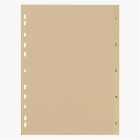 5 Star Eco File Divider Numbered Tabs 1-5 Recycled Manilla 11 Holes 150gsm A4 Buff