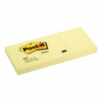 Post-it Canary Yellow Notes Pad of 100 Sheets 38x51mm Ref 653E [Pack 12]