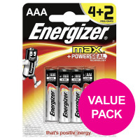 Energizer Max AAA/E92 Batteries Ref E300124200 [Pack 4 and 2 FREE] Apr-Sep 2018