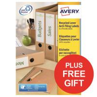 Avery Filing Label Recycled 4 Per Sheet 192x61mm Ref LR4761-100 [400 Labels] [FREE Pen Pot] Apr-Jun 2018