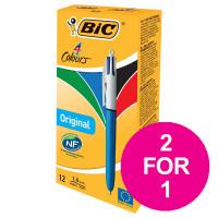 Bic 4-Colour Ball Pen Blue Black Red Green Ref 802077/801867 [Pack 12] [2 For 1] Jul-Sep 2018
