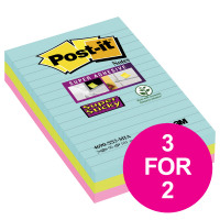Post-It Super Sticky Notes Miami Aqua/Neon/Green/Pink Ref 70005290831 [Pack 3] [3 For 2] Jul-Sep 2018