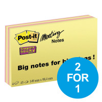 Post-it Super Sticky Meeting Notes 45 Sheets Bright Colours Ref 6445SSP [Pack 4] [2 for 1] Oct-Dec 2018