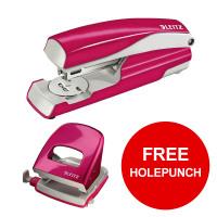Leitz NeXXt WOW Stapler 3mm 30 Sheet Pink Ref 55021023L [FREE Holepunch] Jan-Mar 2019
