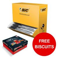 Bic Cristal Ball Pen Clear Barrel 1.0mm Tip Black Ref 896040 [Pack 100] [Free Biscuits] Jan-Mar 2019
