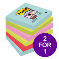 Post-It Super Sticky Notes Miami 76x76mm Bright Colours Ref 654-6SS-MIA [Pack 6] [2 For 1] Apr-Jun 2019