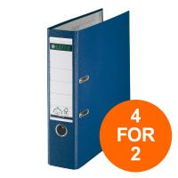 Leitz Lever Arch File Plastic 80mm Spine A4 Blue Ref 10101035 [Pack 10] [4 For 2] Jul-Sept 2019