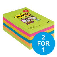 Post-it Super Sticky Rainbow 101x152mm XXL [Pack 4 & 2 Free] Oct-Dec 19