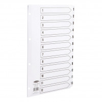 Concord Classic Index 1-12 Mylar-reinforced Punched 4 Holes 150gsm A4 White Ref 01201/CS12
