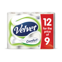 Velvet Comfort Toilet Rolls 116x104.5mm 210 Sheets 24.4m 2-ply White Ref 1102092 [Pack 9 Plus 3 FREE]