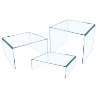 Acrylic Riser 3 Sizes High Quality Acrylic Assorted sizes - Small Medium Large Clear [Pack 3]