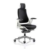 Adroit Zure White Frame Head Rest Fabric Black 565x520x450-550mm Ref KC0161