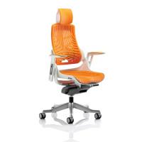 Adroit Zure White Frame Gel Head Rest Orange 565x520x450-550mm Ref KC0165