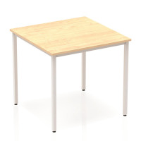 Trexus Square Box Frame Silver Leg Table 800x800mm Maple Ref BF00153
