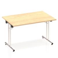 Sonix Rectangular Chrome Leg Folding Meeting Table 1200x800mm Maple Ref I000717