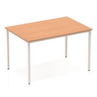 Trexus Rectangular Box Frame Silver Leg Table 1200x800mm Oak Ref BF00128