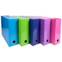 Iderama Transfer File 90mm Spine Thumb Hole A4 Assorted Bright Colours [Pack 5]