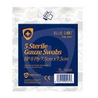 Click Medical Gauze Swabs Sterile 7.5x7.5cm White Ref CM0453 [Pack 5] *Up to 3 Day Leadtime*