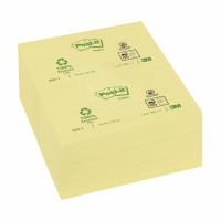 Post-it Recycled Notes Pad of 100 76x127mm Yellow Ref 655-1Y [Pack 12]